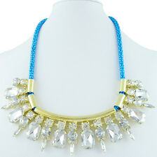 Neon Turquoise Blue Gold Crystal Choker Cord H&M Bloggers Statement Necklace