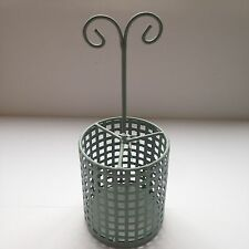 Shabby Chic Soft Green Metal Utensil / Cutlery Holder