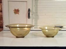 """Federal Glass Amber 8 1/2"""" and 6 3/4"""" Mixing Bowls"""