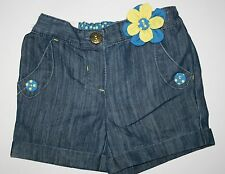 New NEXT UK Denim Flower Applique Shorts Cuffed 4T 5T 110cm NWT Short