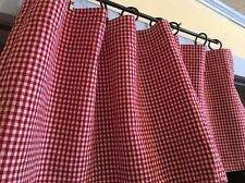 Retro Country Farm Red/White Checked Gingham Curtain Window Valance 100% Cotton