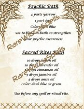 Magick Recipes Psychic Bath & Sacred Rites Bath for Wicca Spell Book of Shadows