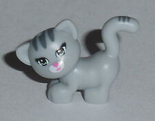 ANIMAL Lego Grey Cat Standing, Looking Left w/Blue Eyes, Pink nose NEW Friends
