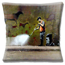 "NEW Banksy Graffiti Artist Ancient Wall Graphic Cleaner 16"" Pillow Cushion Cover"