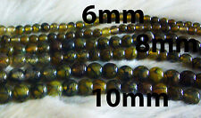 DIY Gold Yellow Agate 8mm Gemstone Round Gemstones Beads Jewelry Craft Batu