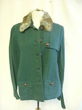 Ladies Coat - GAP, size XL, green, cotton, faux fur collar, cotton, used - 0383
