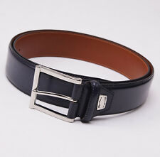 New $295 SANTONI Midnight Blue Calfskin Leather Belt 44 W (110cm) Silver Buckle
