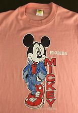 True Vintage 70s 80s NOS Walt Disney Mickey Mouse Florida Pink Thin T-Shirt M