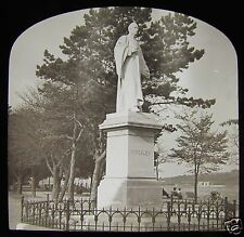 Glass Magic Lantern Slide KINGSLEY STATUE BIDEFORD C1910 DEVON ENGLAND