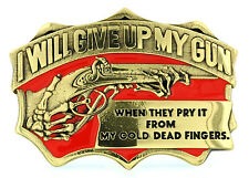 """From My Cold Dead Fingers"" Gun Rights Solid Brass Belt Buckle"