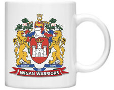 Wigan Warriors Rugby League Club on White Mug with Badge both Sides Gift Boxed