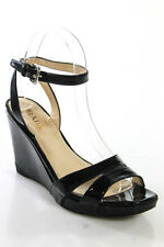 Prada Black Patent Leather Ankle Strap Wedge Sandals Size 37.5 7.5