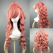 VOCALOID-Megurine Luka Long Smoke Pink Anime Cosplay curls wig+Clip On Ponytail