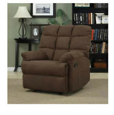 Large Furniture Rocker Recliner Microfiber Brown Living Room Couch Chair Part