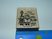 Stampin Up 1 Rubber Stamp Merry Chris Mice (Christmas Holiday) Mouse Carolers