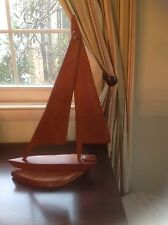 """20x12"""" Gorgeous Large Solid Monkeypod Wood Model Sailboat Hand Made In Haiti"""