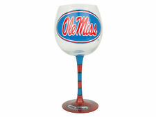 OLE MISS University of Mississippi Rebels Hand-Painted WINE Glass NIB 33% off