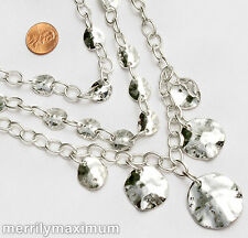 Chico's Signed Necklace Shiny Silver Tone Three Oval Link Chains Hammered Disks