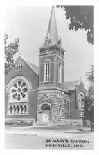 Rushville Indiana birds eye view St Marys Church real photo pc Y11170