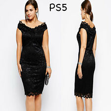 Sz 14 16 Black Off Shoulder Lace Evening Formal Party Sexy Slim Fit Midi Dress