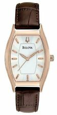 New Women's Bulova 97L114 Silver Dial Tonneau Brown Leather Watch