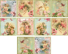 "10 vintage images of fairy angel 2"" cards with envelopes organza bag set 2"