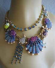 BETSEY JOHNSON INTO THE BLUE CRYSTAL SHELL TURTLE CRAB STATEMENT NECKLACE~NWT