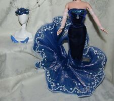 BARBIE WATER RHAPSODY BLUE GOWN FAUX PEARL SEQUINS SHOES HEADPIECE LOT FOR DOLL