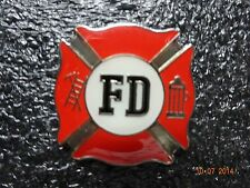 Bright Red and silver FD  Lapel pin ( Fire Dept)Size of Quarter square New/Nice