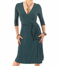 Just Blue - New Spot Print V Neck Wrap Dress - Knee Length