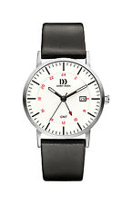 Danish Design IQ12Q1061 White Dial Stainless Steel Leather GMT Men's Watch