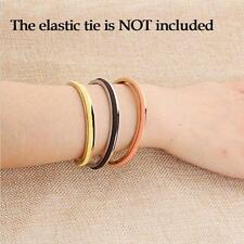 Stainless Steel Cuff Bangle Hair Tie/Screw Bracelet F Women Band Elegant Indent