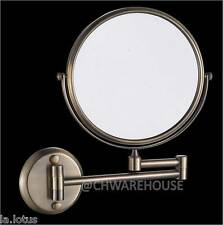 "NICKEL 8"" MAGNIFYING MIRROR, BATH, MAKEUP, WALL MOUNTED, SWING ARM, 7X, 2-SIDED"
