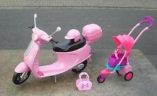 BARBIE Roller Vespa + Kinderwagen + Zubehör   original BARBIE Mattel