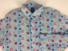"New MICHAEL'S ""Flip Flops"" Shirt Large 100% Linen Long Sleeve Retail $148"