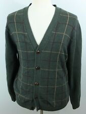 L.L. Bean men's L Plaid Pattern VTG Cardigan Sweater Shirt unique Rare colorful
