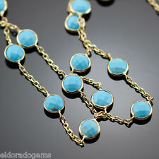 GEMSTONE BY THE YARD NECKLACE FACETED TURQUOISE 14K YELLOW GOLD CABLE CHAIN 36