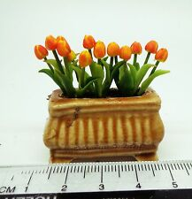 1:12 Scale Tulips Flowers In A Pot Doll house Miniatures Garden
