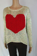 SOLEO New Ladies Heart Thin Knit Sequinned Casual Jumper Sweater One size AM22