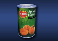 1:12 Scale Apricot Halves Tin Dolls House Miniature Food Cans