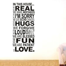 New House Rules Wall Quote Family Inspirational Art Decal Vinyl Sticker 60*130cm