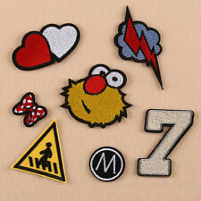 7pcs Embroidered Sew Iron on Patch Badge Bag Cloth Applique Heart Thunder Flash