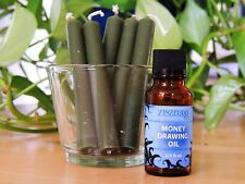 Money Drawing Oil + Green Ritual Chime Candle Set Zinzeudo Spell Wicca  1/2 oz