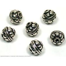6 Sterling Silver Round Bali Beads 9 x 8mm