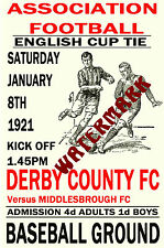 DERBY COUNTY - VINTAGE 1920's STYLE MATCH POSTER