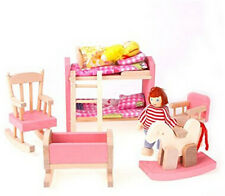 Wooden Dollhouse Miniature Furniture Kids Bedroom Set Girls Barbie Bedroom Toy