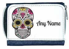 Personalised Denim Purse With Mexican/Gothic Sugar/Candy Skull And Diamond
