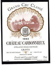 GRAVES 1ER GCC VIEILLE ETIQUETTE CHATEAU CARBONNIEUX 1983 75 CL RARE §29/12§
