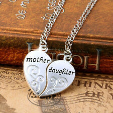 2PCS/Set Mother Daughter Love Heart Chain Pendant Family Charm Necklace Silver