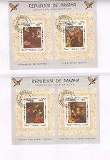 PANAMA 2 Blocs collés sur feuille:tableaux de peintres cèlebres. Belle côte SP56